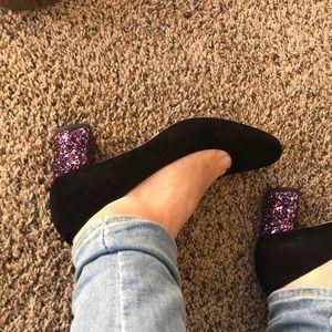 Kate spade black suede pumps with sparkle heel